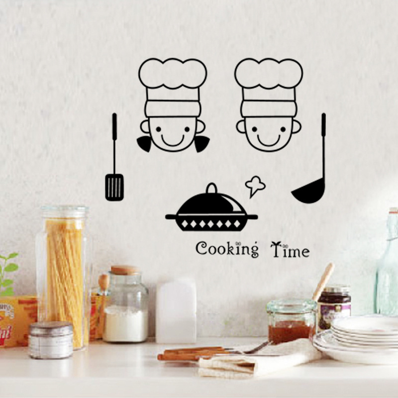 Removable cartoon cooking time cuisine wall stickers for Decor mural cuisine
