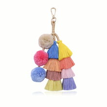 New Fashion Handmade Tassel Pendant Bohemian Multilayer Hair Ball Bag Key Ring Women Accessories Wholesale