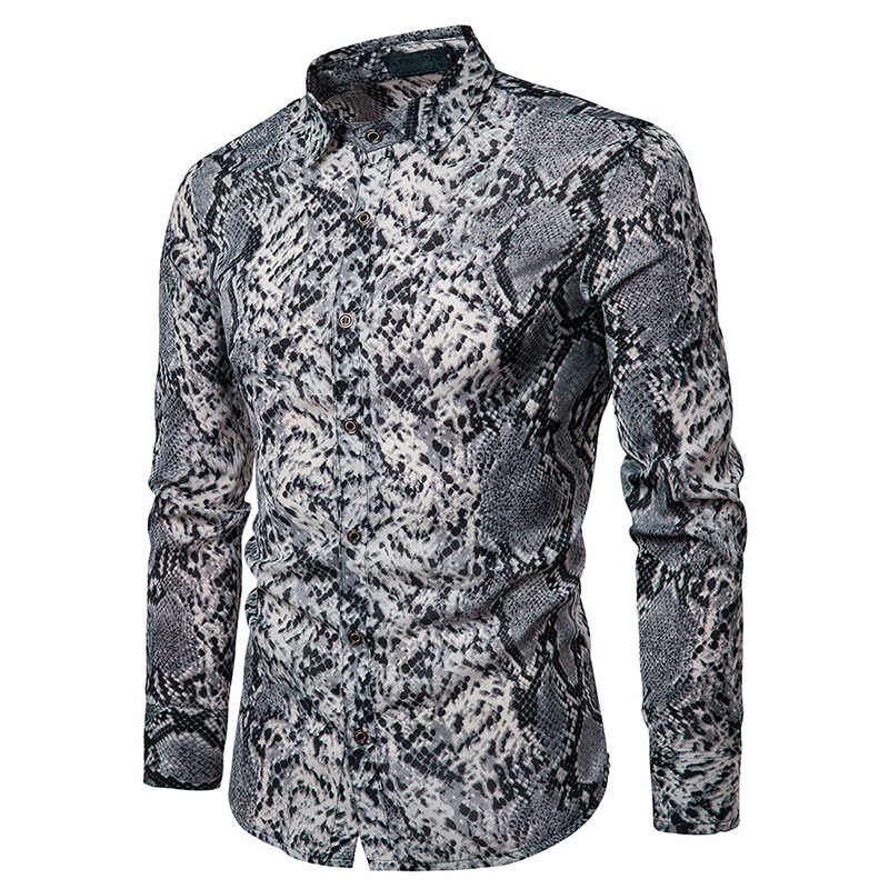 Camisa estampada cobra, sexy, masculina, de manga longa, hip hop, streetwear casual, 2019 homem