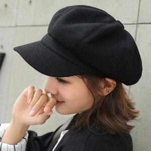 Image 4 - HT1990 Auutmn Winter Hats for Women Solid Plain Octagonal Newsboy Cap Men Ladies Casual Wool Hat Winter Beret Women Painter Cap