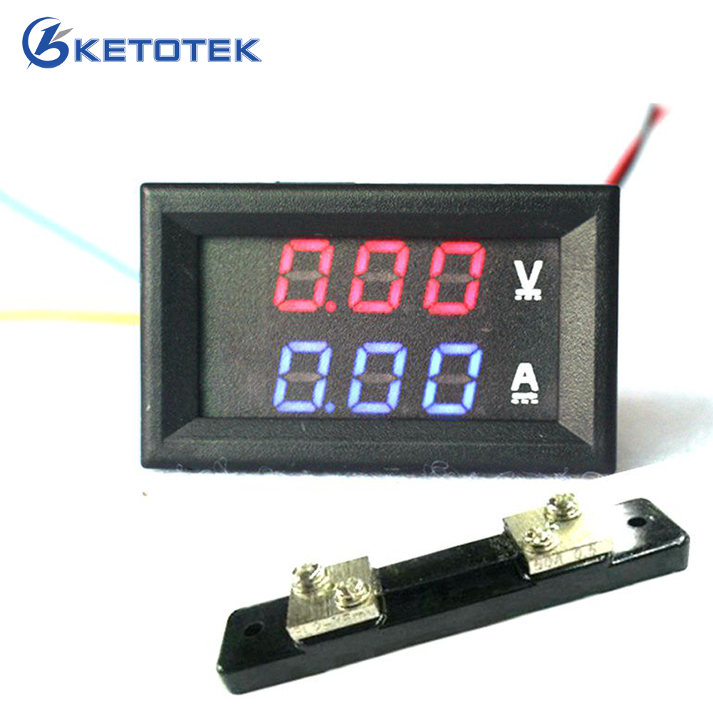 2 in 1 DC Volt Amp Dual display Meter 0.28 DC 0-100V/50A Red Blue Digital Voltmeter Ammeter With Ampere Shunt