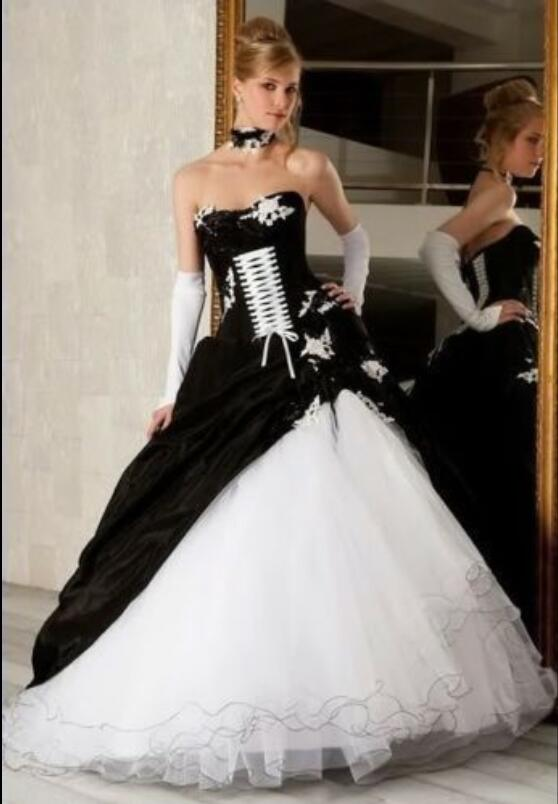 Black White Corset Wedding Dress Promotion-Shop for Promotional ...