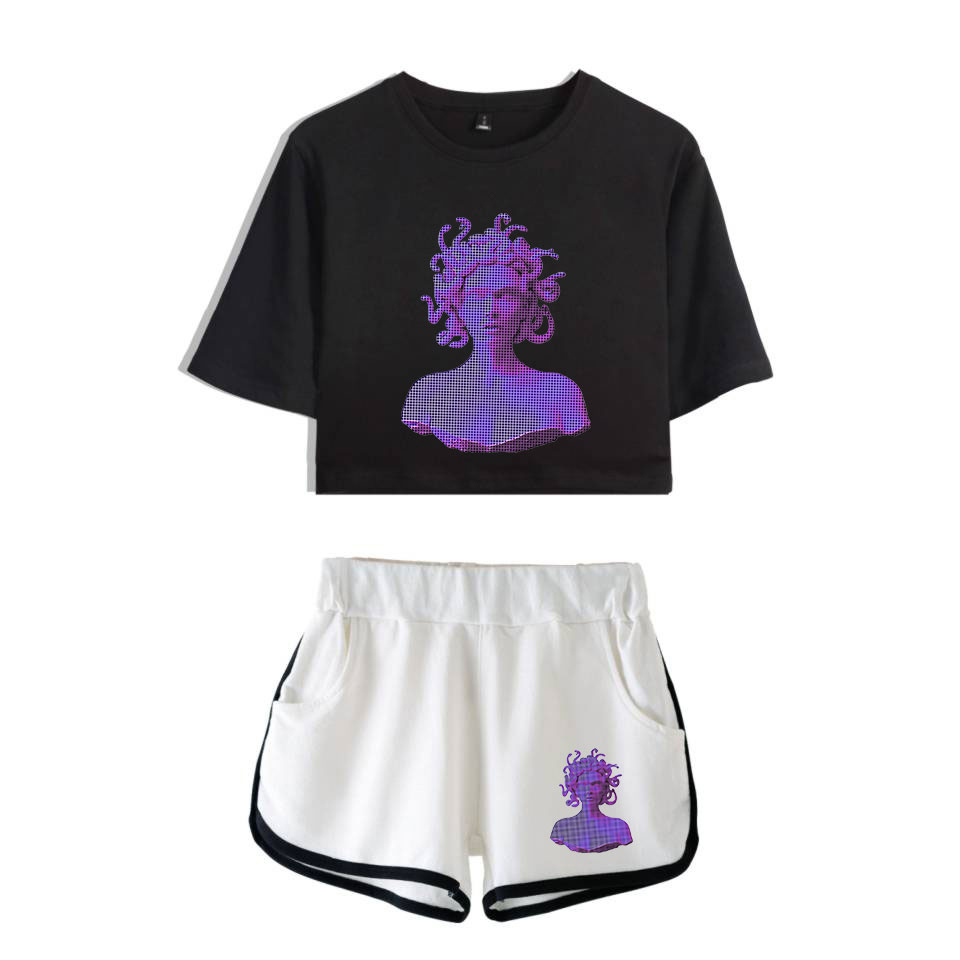 Drop Shopping Vaporwave Electronic Dance Music Print Leisure Women Two Piece Set Shorts And Lovely T-Shirts Hot Sale Clothes