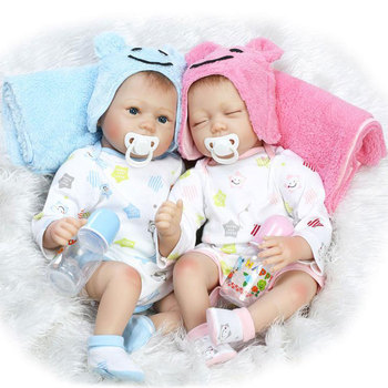 Kawaii 22inch Twins Baby Doll Silicone Reborn Doll 55CM BeBe Reborn Lifelike Realistic Doll For Kids Birthday Gift Brinquedos 55cm lifelike boneca reborn baby doll soft real touch full silicone toys for children birthday gift crooked mouth doll kids