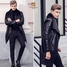Free Shipping fanzhuan New 2017 fashion male Men's man slim warm coat winter Fur thickening PU leather velvet 710117 fur collar