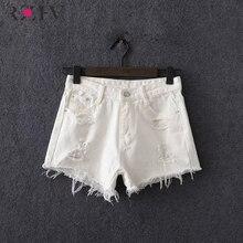 RZIV 2017 женщин шорты и летом шорты случайные белый сплошной цвет отверстия джинсовые шорты