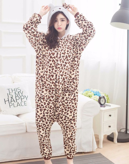 Cute Leopard print animal Pajamas unisex Pyjamas adults flannel girls clothes party Onesies sleepwear rompers cosplay costume