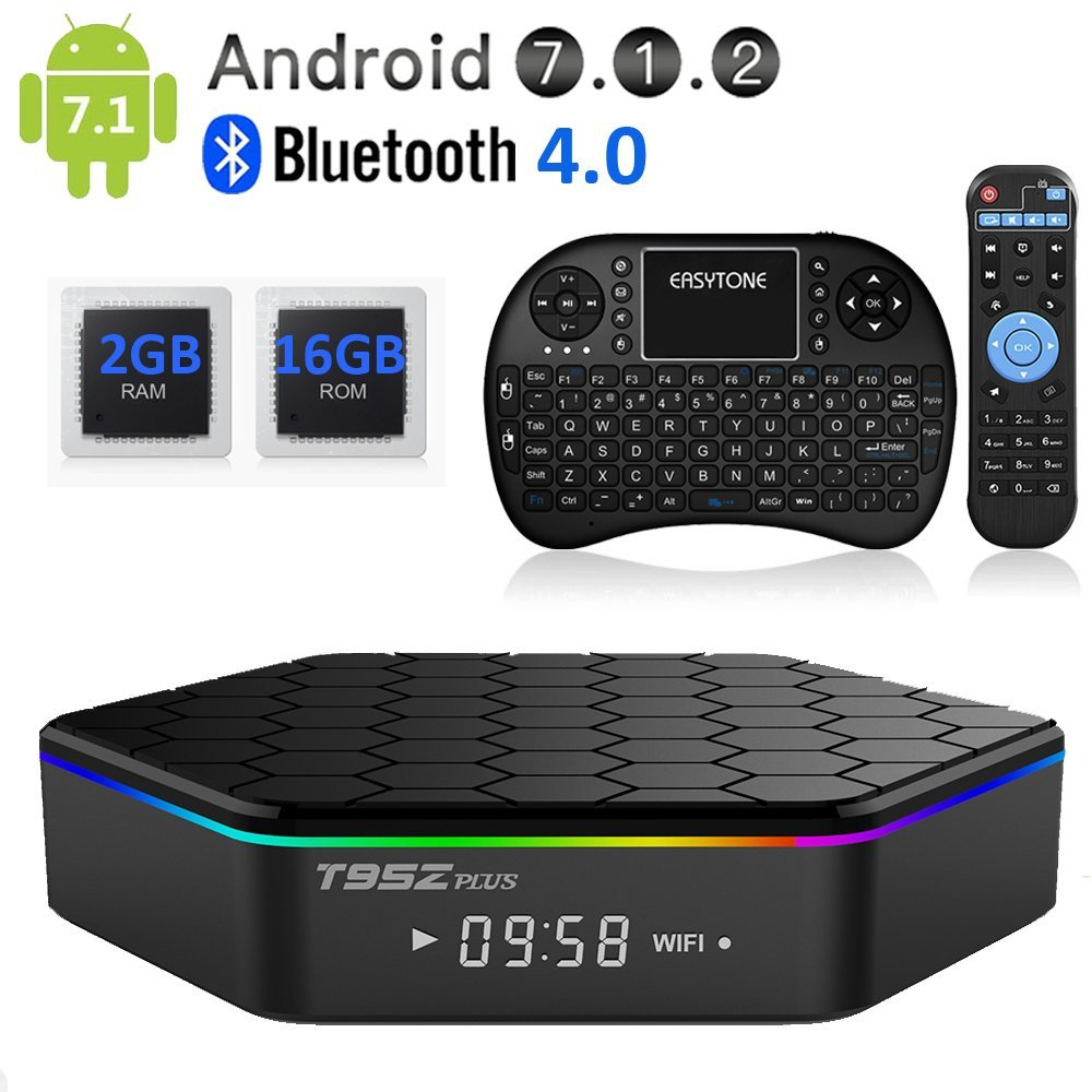 T95Z PLUS Android TV Box,Octa Core Smart TV Box 2GB RAM 16GB ROM Android 7.1 Amlogic S912 Support 2.4G/5G Dual Wifi/1000M LAN/BT