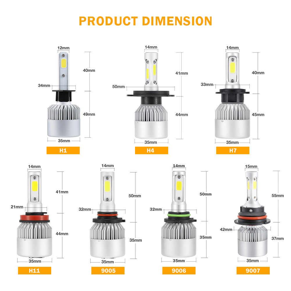 Aotogo 2X6500 K H4 светодиодный H7 H11 H8 HB4 H1 H3 HB3 Авто S2 для автомобильных фар 72 Вт 8000LM стайлинга автомобилей 6500 K чистый белый светодиодный авто лампы