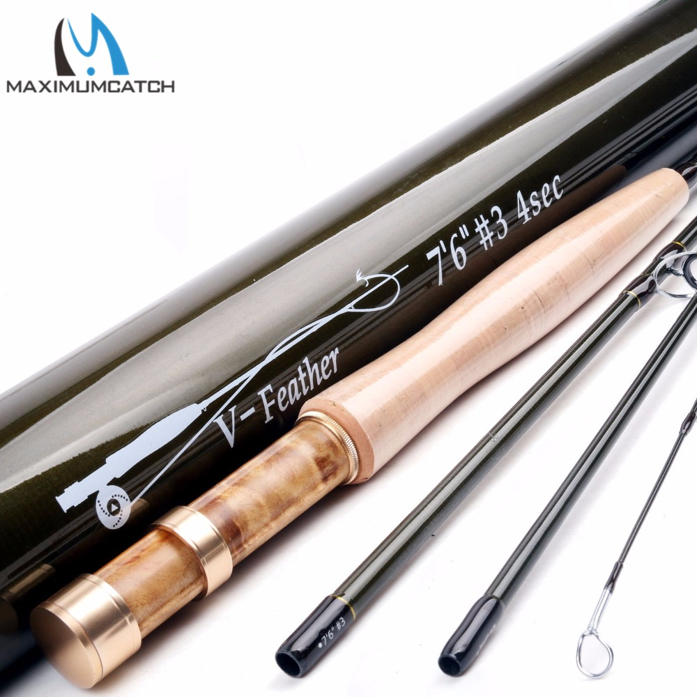 Maximumcatch V Feather 6ft 6ft6 7ft6 1 2 3wt Light Weight Fly Fishing Rod SK Carbon