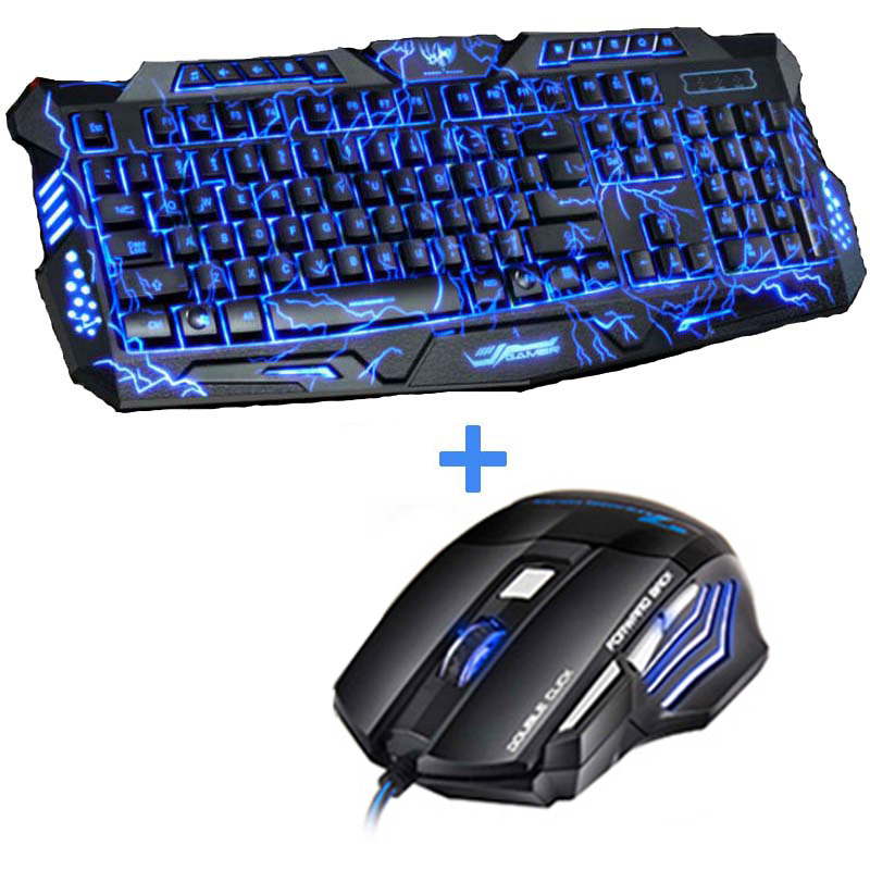 Tri-Color LED Backlit Computer Gaming Keyboard Teclado USB Powered Full N-Key Game Keyboard for PC Laptop Russian Sticker flexible neck usb powered 10 led keyboard light for laptop blue