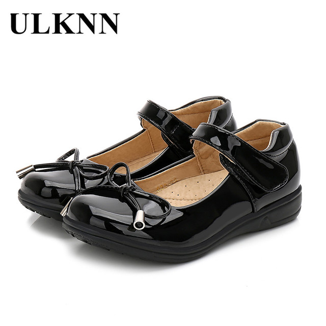 Ulknn Hitam Putih Sepatu Datar Wanita Pesta Sepatu Sekolah Anak-anak Gaun  Busur Putri Pernikahan 8a7a6b6373
