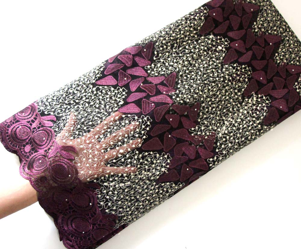 Purple tulle lace fabric