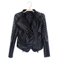 Big size Autumn leather jacket Black Motorcycle leather jacket women Slim Bi metal Silver Rivet metallic jacket Pu Coat Women