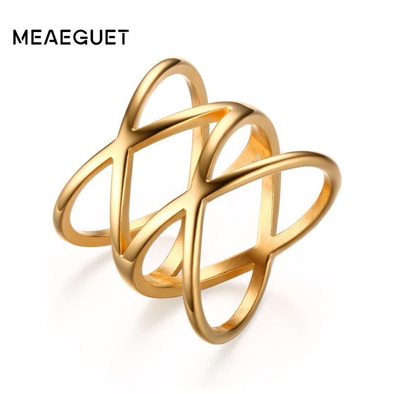 Meaeguet 19mm Trendy Bijoux Women Stainless Steel Gold-Color Rings Jewelry for Double