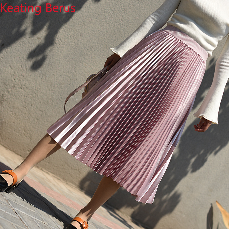 Women's Skirt Loose Length 11 Colors High Waist Pleated Skirt Women Sexy Casual Skirts Harajuku Pink 0947