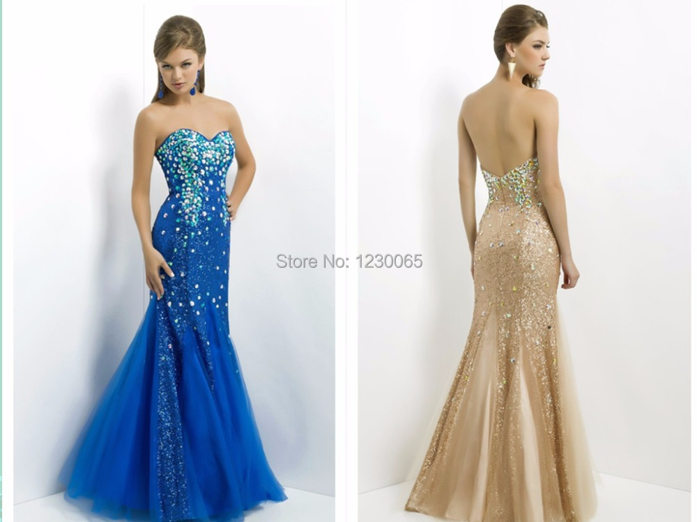 New Hot sexy Summer Evening   Dresses   crystal Sweetheart Sleeveless Formal gowns Party blue long mermaid   prom     dresses   2015