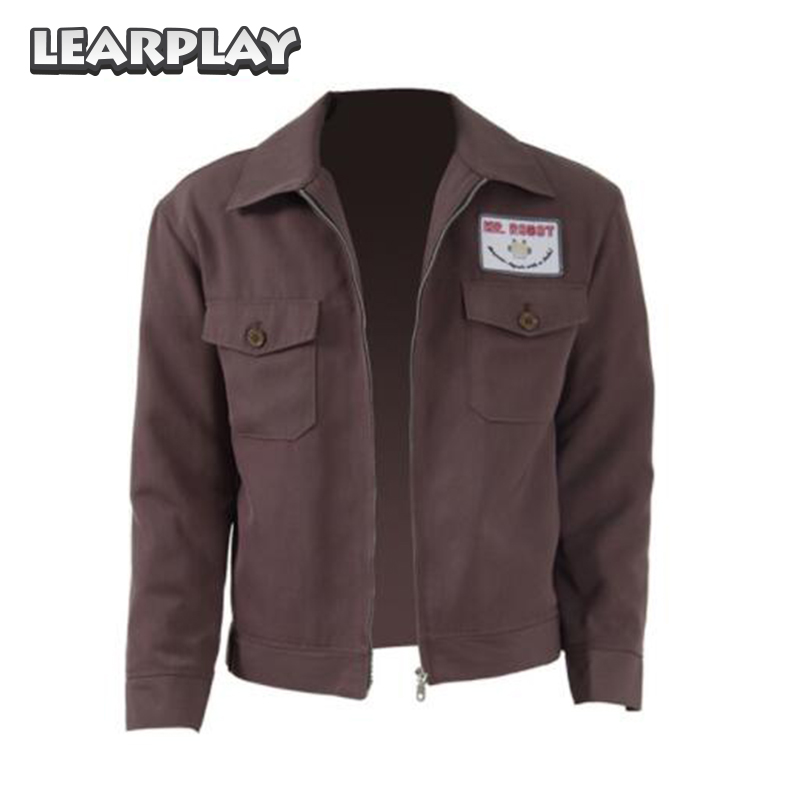 MR Robot Christian Slater FSOCIETY Jacket Cosplay Costume Men Brown Casual Coat Carnival Party Zipper Outwear With Badge Adults