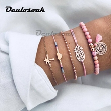 Gift for Women Bracelets Bangles Jewelry Bohemian Pink Wood Bead Gold Heart Pineapple Tassel Strand Pulseras Mujer 5PCS