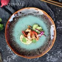 ANTOWALL Emerald Green Agate Red Retro Ceramic Tableware Plate 8inch Western Food Steak Plate Dinner Plate