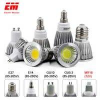 Lámpara LED GU10 MR16 E14 GU5.3 E27 bombilla LED 3W 5W 7W 220V lámpara de condensador LED de difusión proyector iluminación del hogar ZDP0001