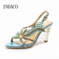 Flowers Rhinestone Sandals Women High Heel Shoes Leather Strappy Heels Fish Head Summer Diamond Bohemian Shoes