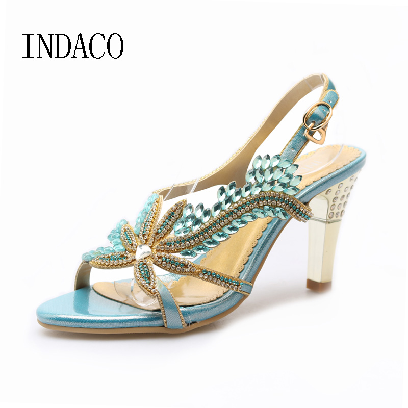 Flowers Rhinestone Sandals Women High Heel Shoes Leather Strappy Heels Women Gold Shoes Summer Diamond Bohemian Shoes INDACO the new type of diamond mother sandals lady leather fish mouth flowers with leather high heeled shoes slippers women shoes