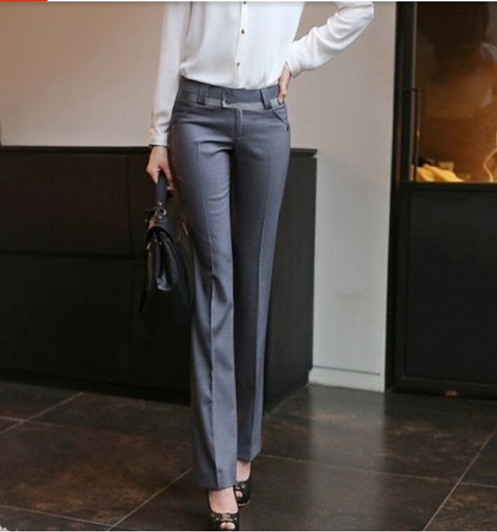 2017 Spring Summer Women Straight Pants Plus Size OL Suit Pants New Fashion Western Style ...