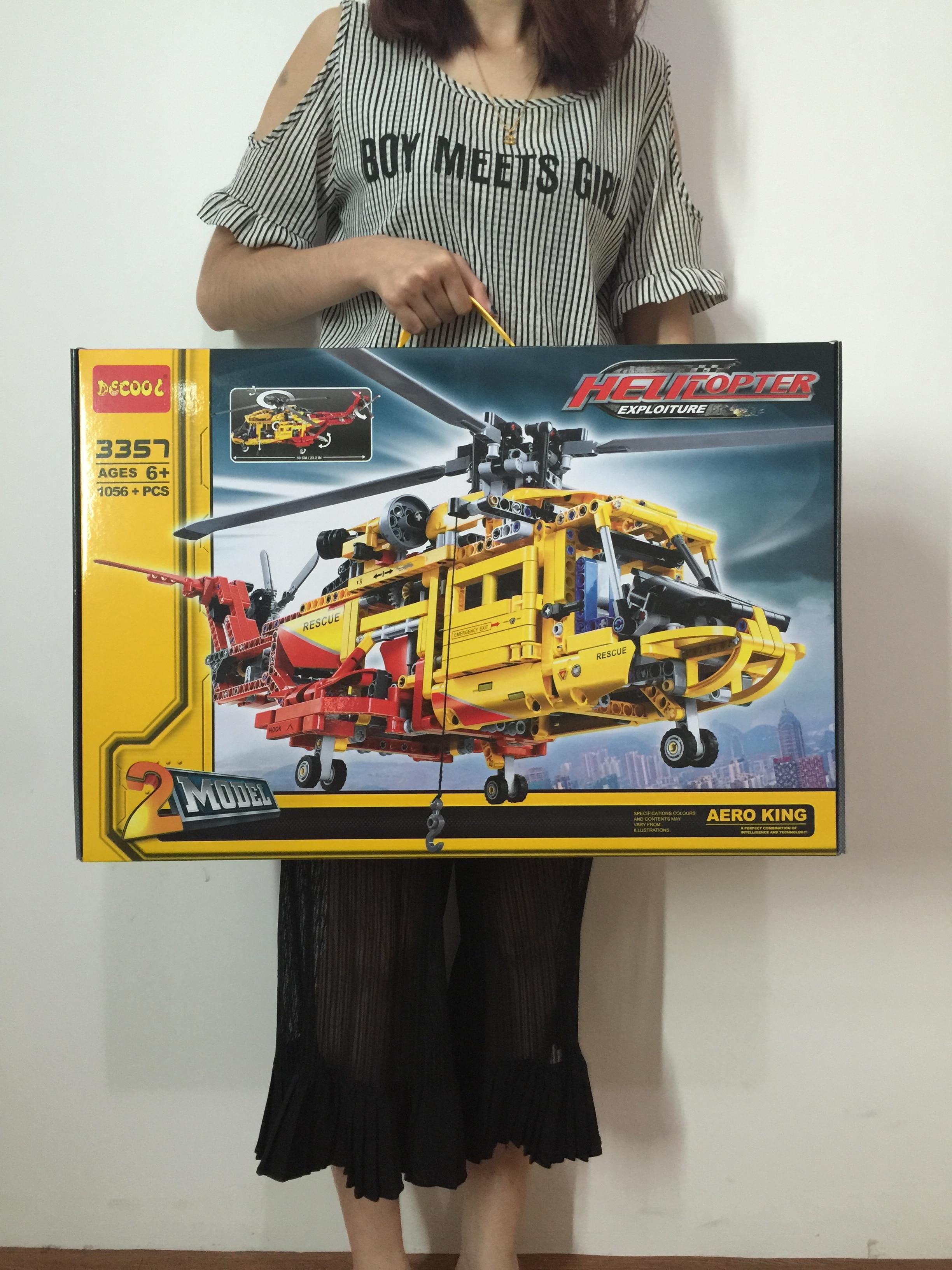 DECOOL TECHNIC 3357 Legolys Technic Military City WW2 Rescue Helicopter Plane Building Blocks Bricks Toys For Children Gift 9396