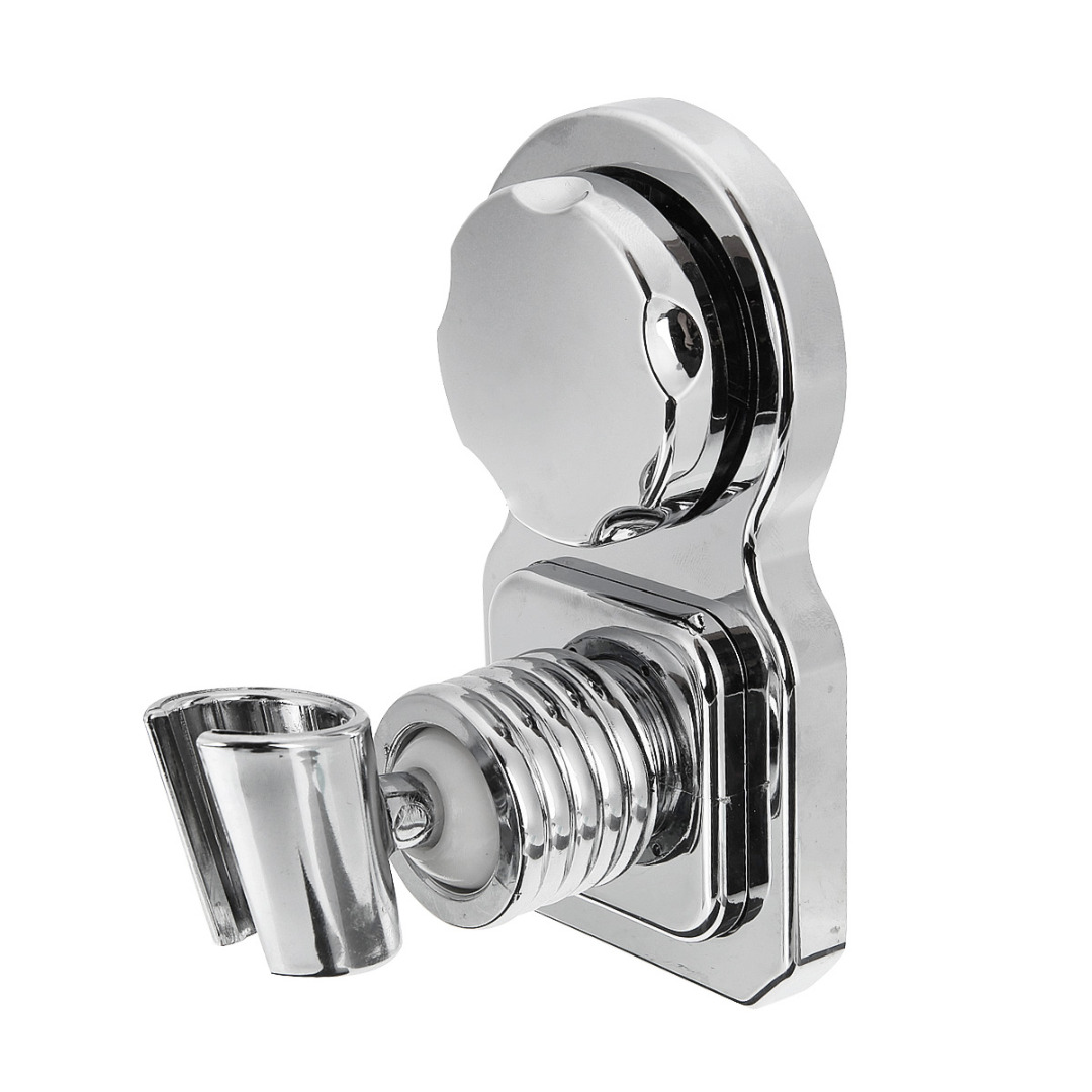 Universal Wall Mounted Bathroom Shower Head Holder Movable Chrome Handset Strong Suction Showerhead
