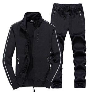 Image 4 - AmberHeard traje deportivo para hombre, chaqueta + pantalón, conjunto de dos piezas, chándal, ropa de talla grande, primavera y otoño, 2020