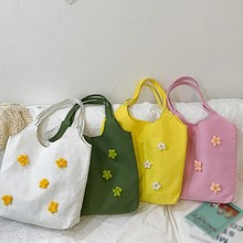 womens foldable shopping bag reusable green large canvas shoulder handbag sundries college wind small daisies