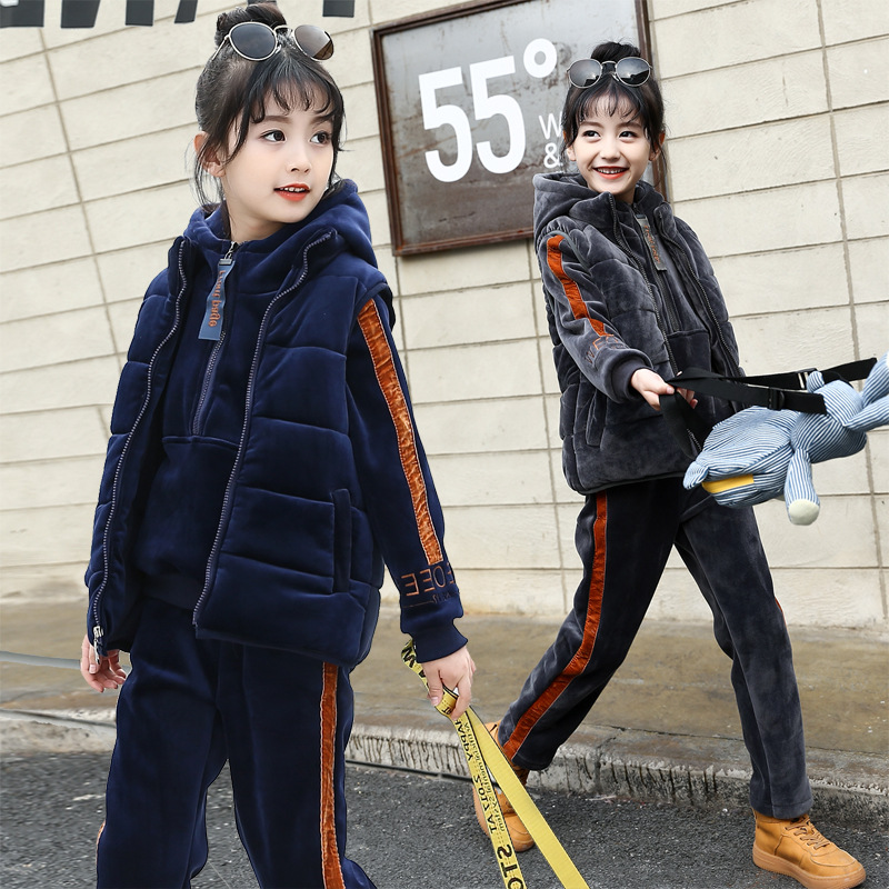 Girls Clothing sets Winter Fleece Pleuche Thick Kids Tracksuit for Girls Clothes Children Clothing Set Sweater Vest Pants 3pcs купить недорого в Москве