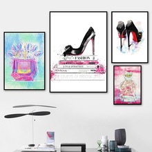 Fashion Book Perfume High Heel Wall Art Canvas Painting Nordic Posters And Prints Watercolor Pictures For Living Room Decor