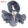 Aoloshow jacquard chiffon lenços de jóias pingente de colar para as mulheres colorido acrílico flor pingente cachecóis lenços de pescoço feminino, NL-2020