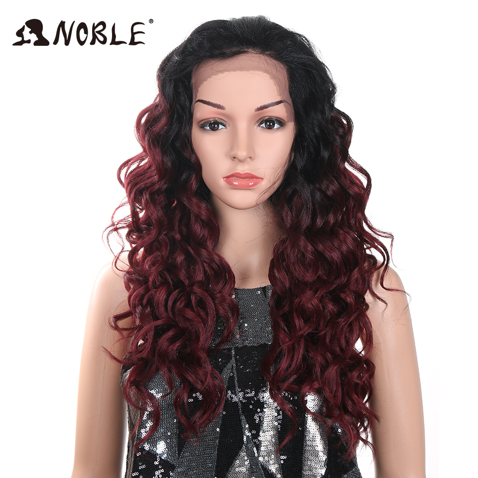 Noble Synthetic Lace Front Wig With Baby Hair Ombre 24inch Long Loose Wavy Glueless Heat Resistant Fiber Free Part Wig For Black