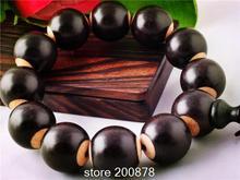 Bb-409 tíbet Natural negro sándalo hueso de Yak incrustaciones con cuentas pulsera del estiramiento de 20 mm Natural cuentas redondas de madera hombre mano Mala