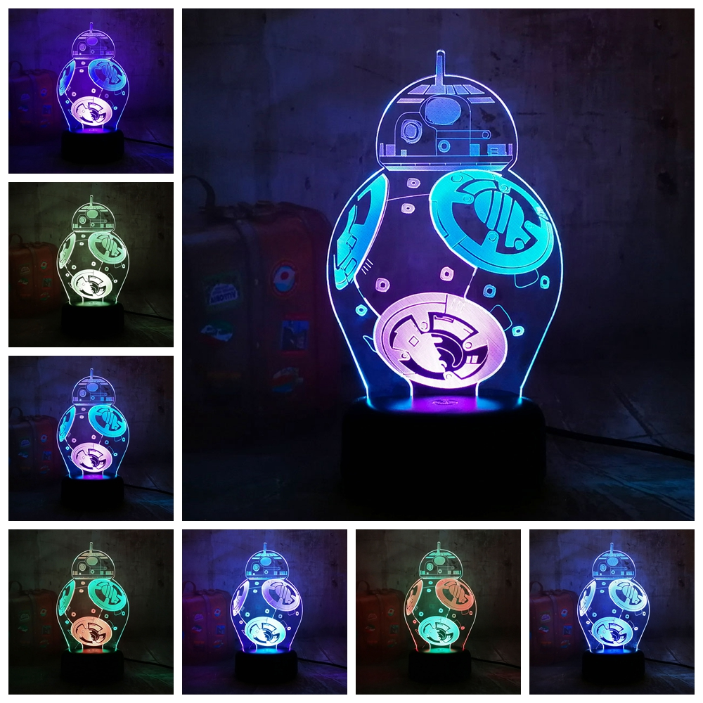 Star Wars BB8 Lustre 3D LED RGB 7 Mixed Dual Color Change Night Light Remote Desk Lamp Christmas Gift Bedroom Home Decor Toys bison rolling grill