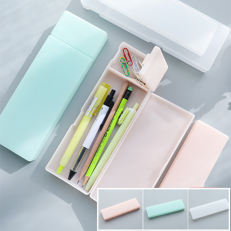 Cute Kawaii Transparent PP Plastic Pencil Case Lovely Pen Box For Kids Gift Office School Supplies Materials Students Gifts