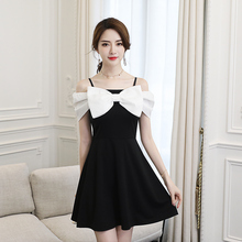 EAD A Line Elegant Bow Spaghetti Strap Summer Dress Off Shoulder High Waist Women Sexy Party Dresses Short Sleeve Splice Robe