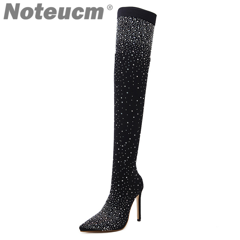 8d9ceee63b39 2018 female autumn Sexy Sequin Cloth stocking thigh high Heel over the knee  boot Elastic Shoe Glitter Stiletto Fashion for Wome -in Over-the-Knee Boots  from ...
