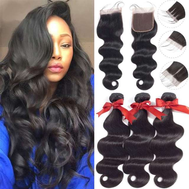 Lace Wigs 100% Brazilian Virgin Human Hair 3 Bundles