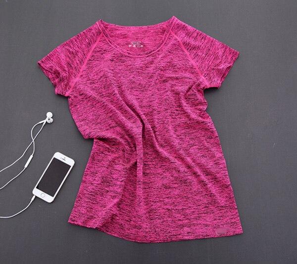 MAIJION Супер быстросохнущая женская футболка с короткими рукавами для тренажерного зала, фитнеса и йоги - Цвет: Rose red
