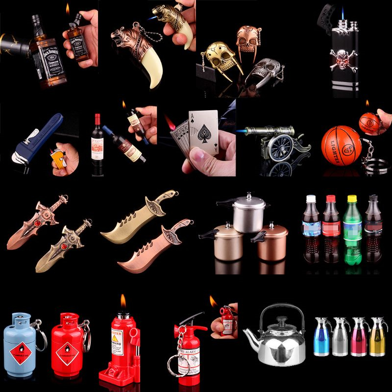 Mini Creative Butane Lighter Wrench Can Basketball Hammer Fire Extinguisher Cannon Pressure-cooker Model Fire Starter Collection