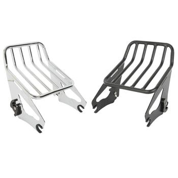 Motorcycle Black/Chrome Detachable 2-Up Luggage Rack For Harley Touring Road King Street Glide FLHR FLHRC 2009-2019