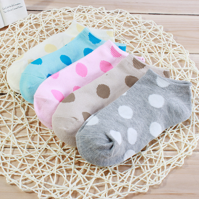 150pair/LOT  Candy Color Girl Cute Cotton Socks Women Bow Polka Dot Ankle Socks For Spring Summer free size