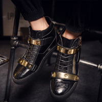 Eur39 46 Punk Style Show Stage Black Ankle Booties Gold Metal Men Leather Flats Winter Hip