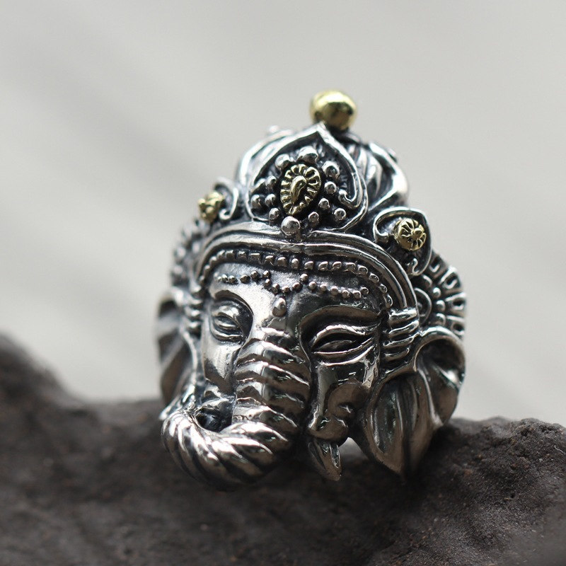 925 carved ring Thai silver personality retro elephant god opening man ring elephant faux gem beaded ring