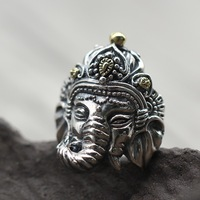 925 carved ring Thai silver personality retro elephant god opening man ring