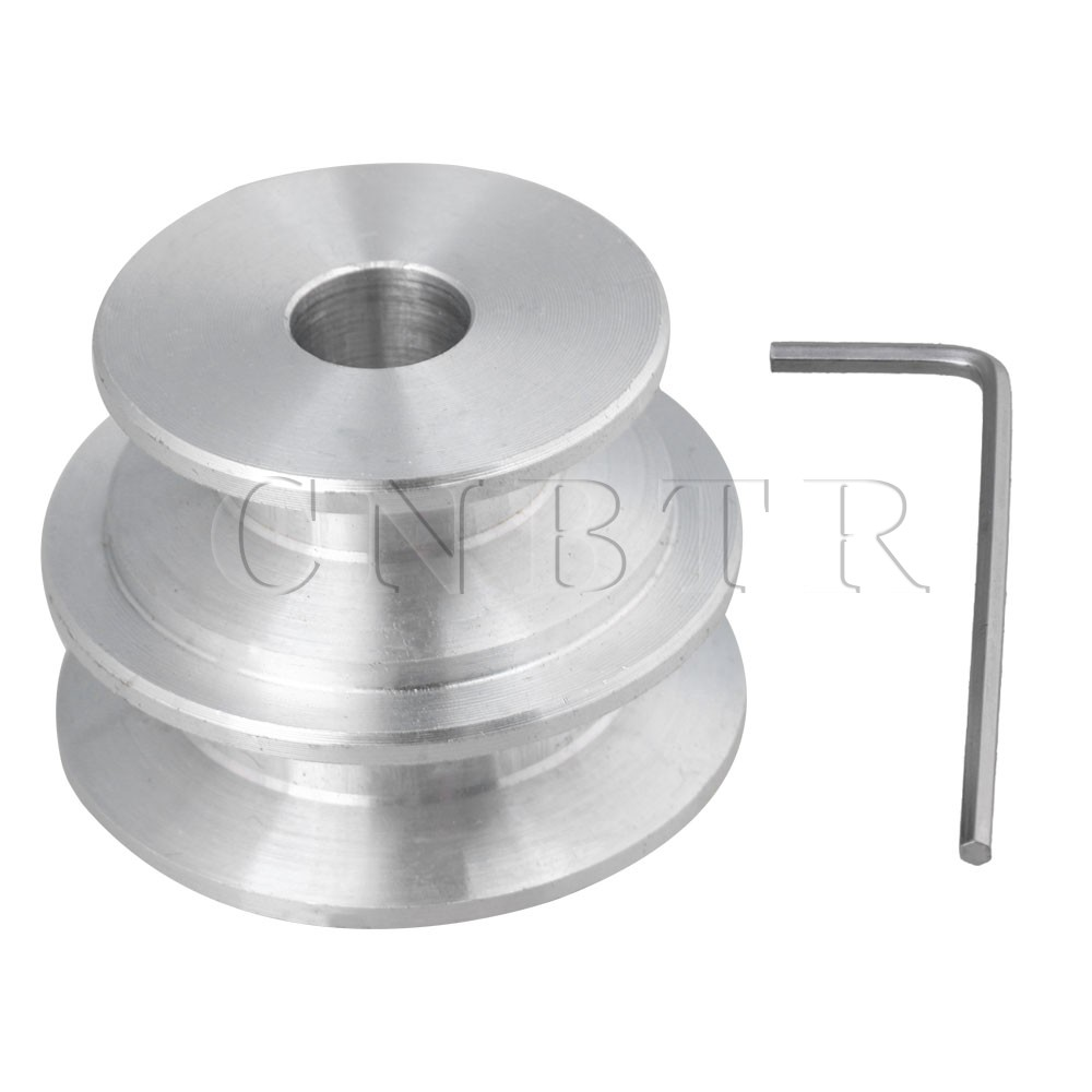 CNBTR Silver Aluminum 2Step Groove Fixed Bore Pulley 40x30x10MM for Round Belt CNBTR Silver Aluminum 2Step Groove Fixed Bore Pulley 40x30x10MM for Round Belt